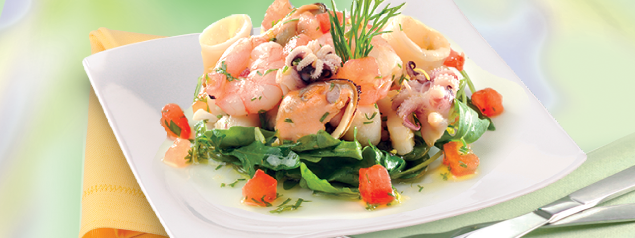 Seafood salad with virgin olive oil