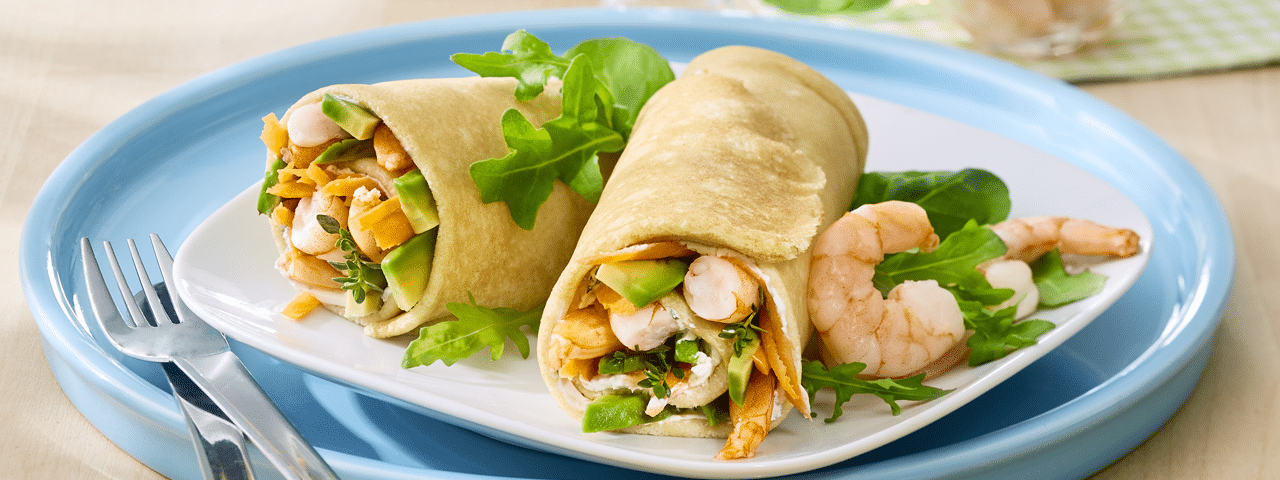 Prawns avocado crepes