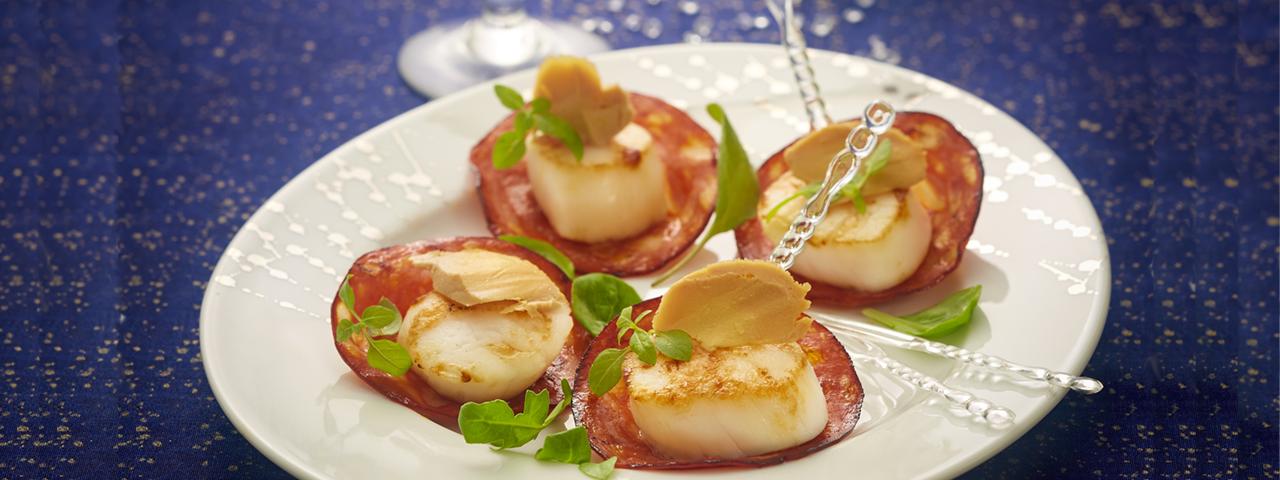 Scallops, chorizo-foie gras