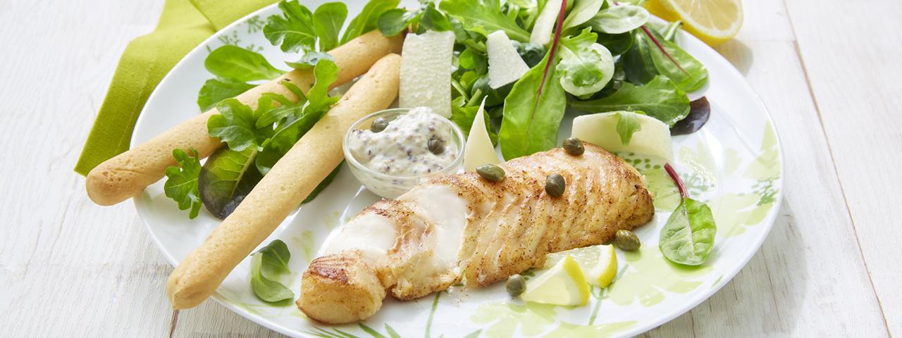 Cod backs in salad Caesar way