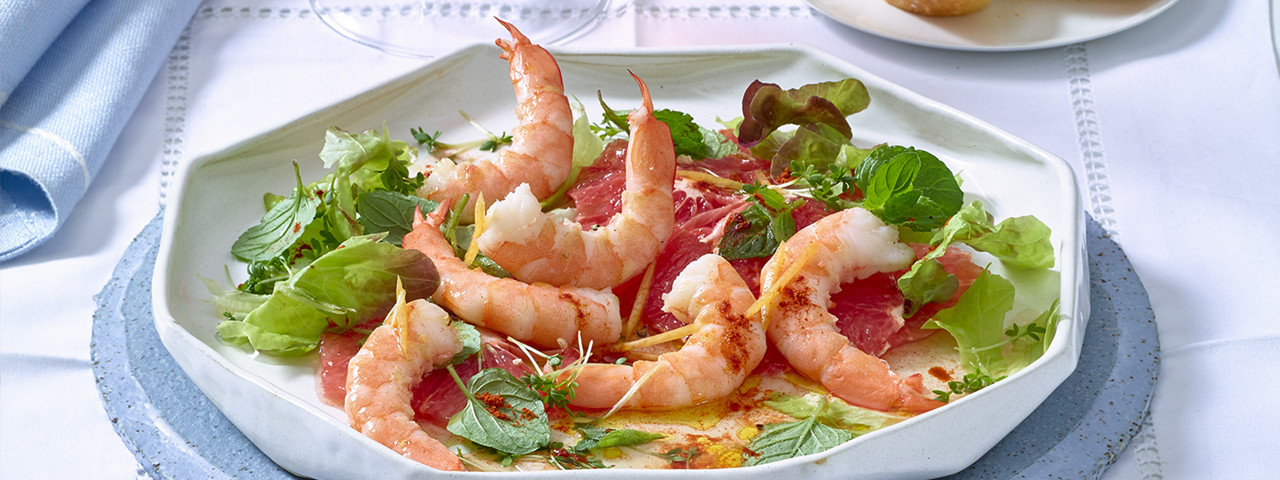 Prawns with citruses and mint